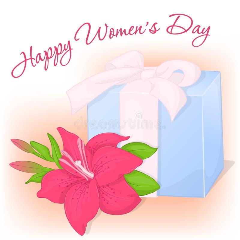 Gelukkige Internationale de groetkaart van de Vrouwen` s Dag met heden en lelie Vakantieachtergrond, affiche of aanplakbiljetmalp vector illustratie