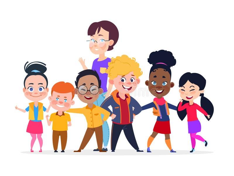 Gelukkige internationale studentengroep Vriendschaps vectorconcept vector illustratie