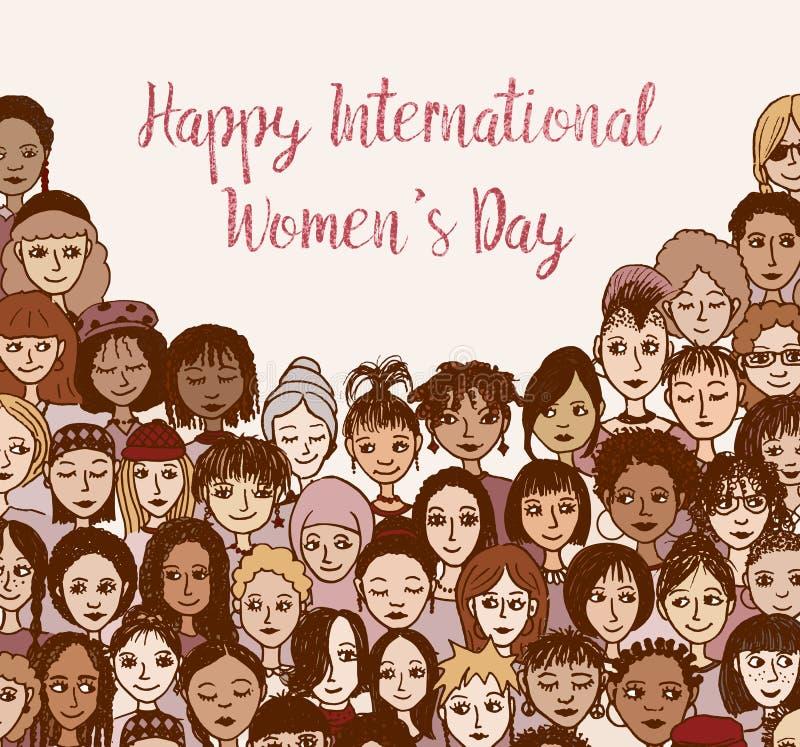 Gelukkige Internationale Vrouwen` s Dag - hand getrokken krabbelgezichten vector illustratie