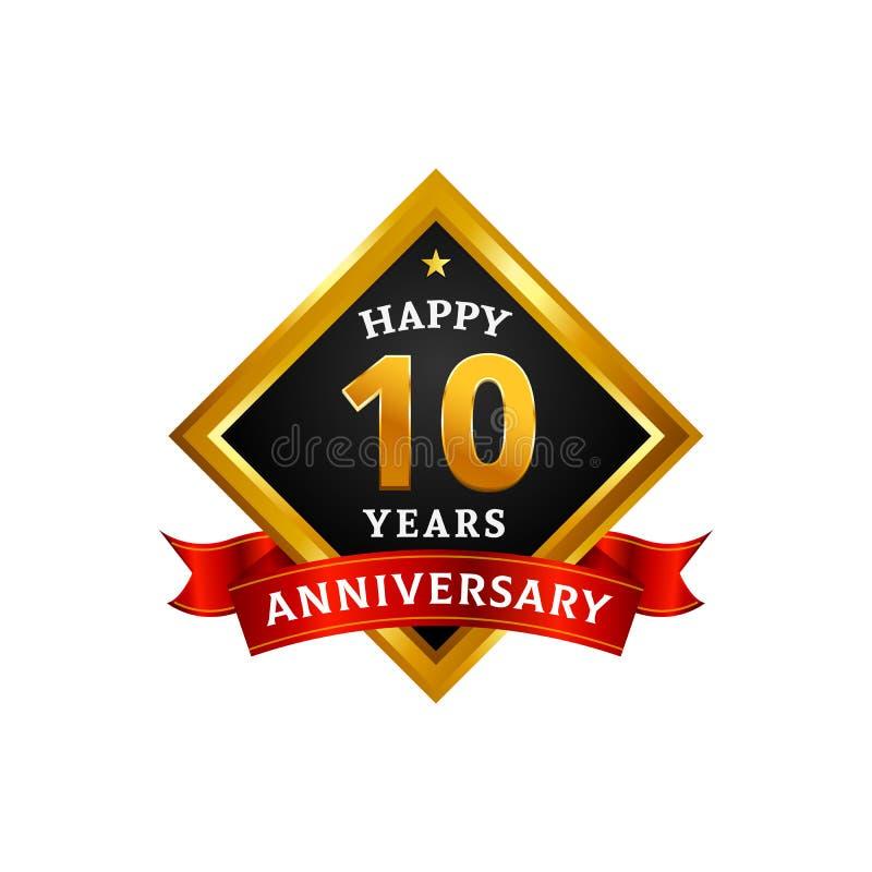 Gelukkige 10 jaar de gouden van het verjaardagsembleem vierings met diamantkader en lint vector illustratie