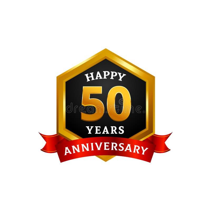 Gelukkige 50 jaar de gouden van het verjaardagsembleem vierings met diamantkader en lint royalty-vrije illustratie