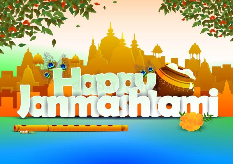 Gelukkige Janmashtami-behangachtergrond stock illustratie