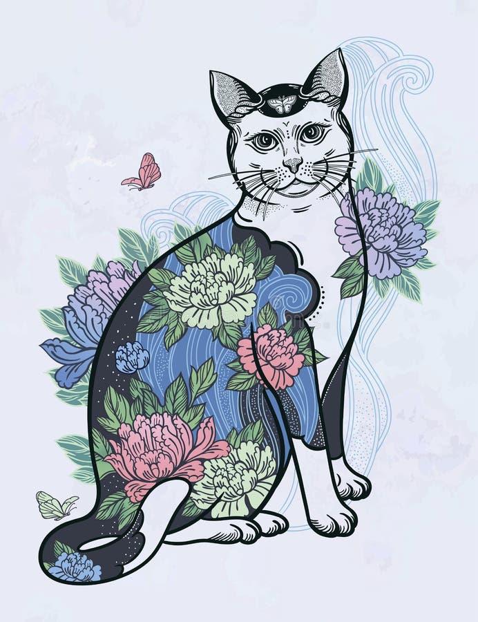 Gelukkige Japanse folklorekat stock illustratie