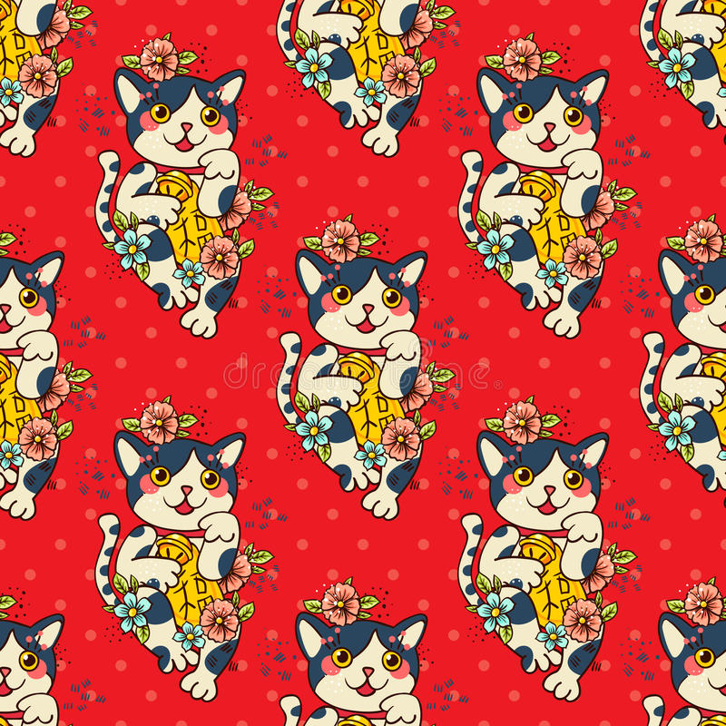 Gelukkige Japanse gebloeide katten maneki-Neko stock illustratie