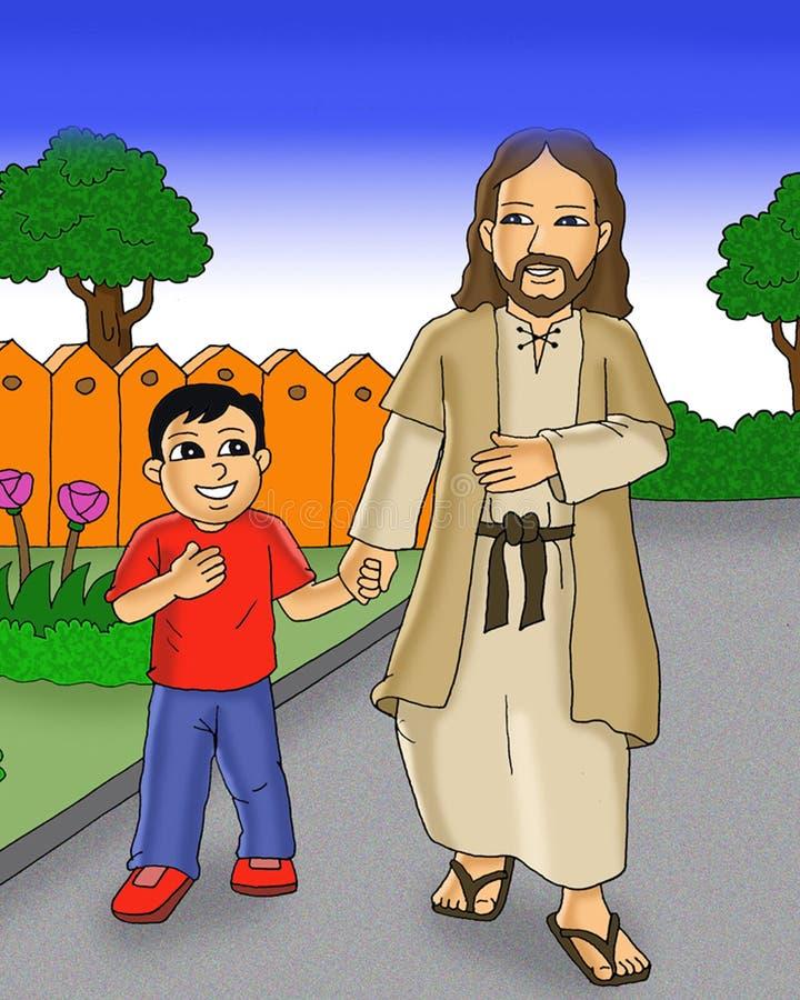 Gelukkige jong geitje en Jesus die samen beeldverhaal lopen stock illustratie