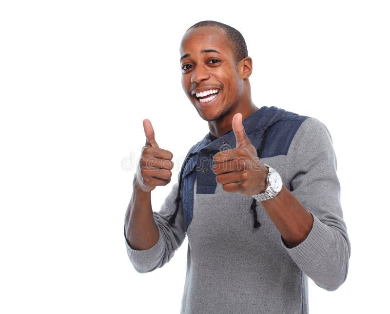 Gelukkige jonge Afrikaans-Amerikaanse mens stock foto