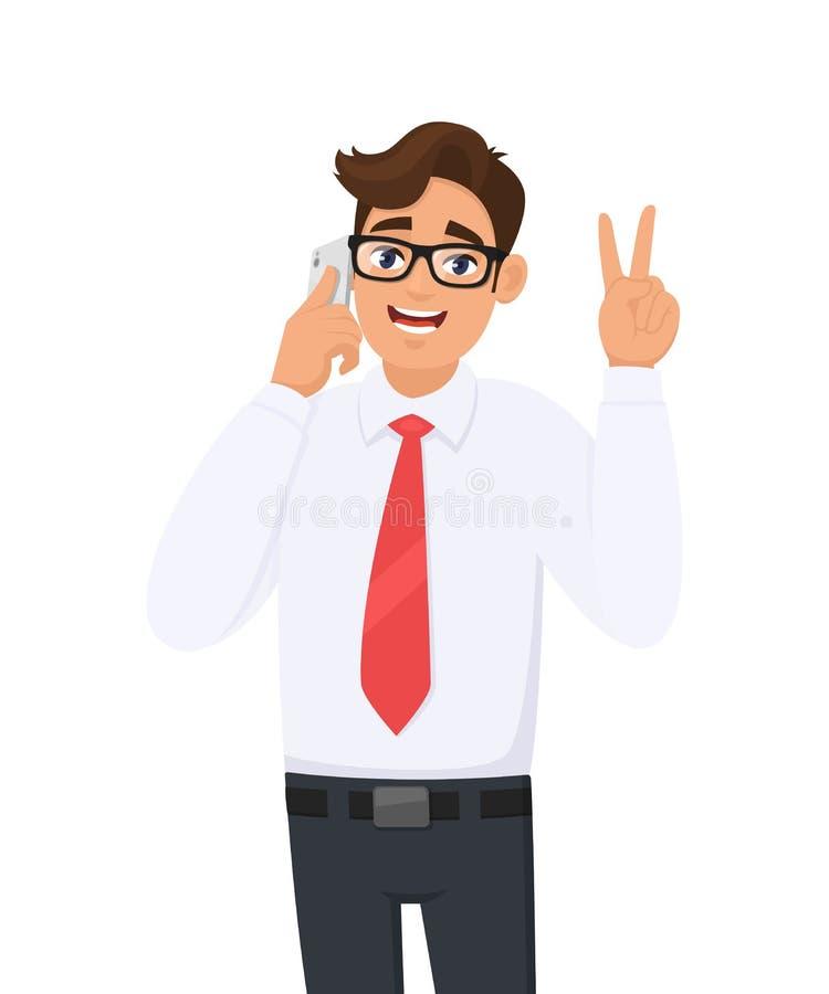 Gelukkige jonge bedrijfsmens in het formele spreken/het spreken op mobiel, de cel of de smartphone Mannelijk karakter die of over vector illustratie