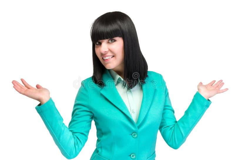 Gelukkige jonge bedrijfsvrouw die die exemplaarruimte tonen, op wit wordt geïsoleerd royalty-vrije stock afbeeldingen