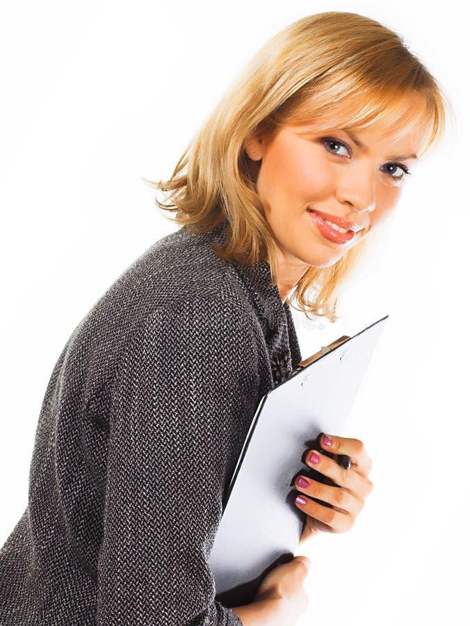 Download Gelukkige Jonge Bedrijfsvrouw. Geïsoleerd Over Wit Stock Foto - Afbeelding bestaande uit businesswoman, achtergrond: 10784392