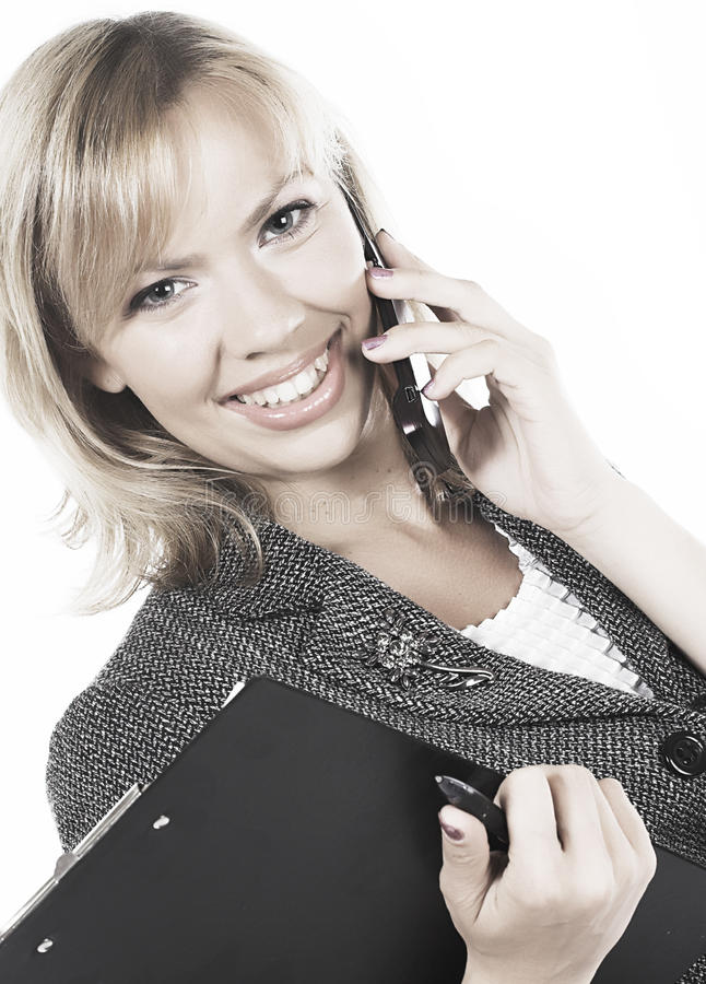 Download Gelukkige Jonge Bedrijfsvrouw. Geïsoleerd Over Wit Stock Foto - Afbeelding bestaande uit alleen, businessperson: 10784460