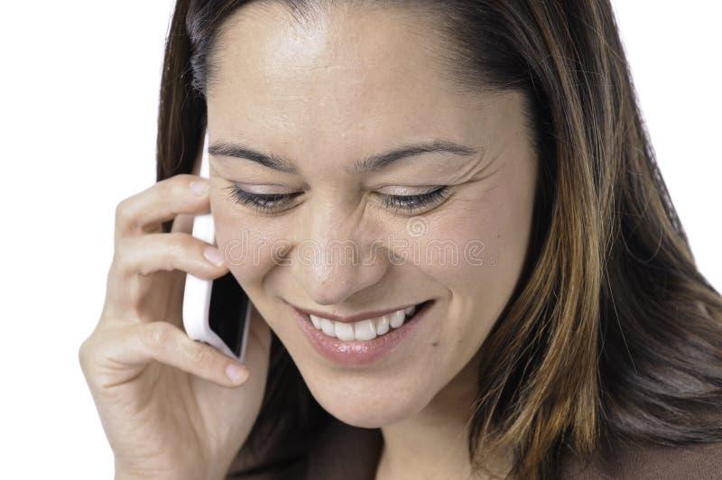 Gelukkige jonge dame met telefoon royalty-vrije stock foto's