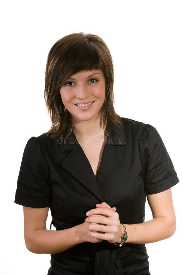 Gelukkige Jonge Donkerbruine Vrouw Stock Foto