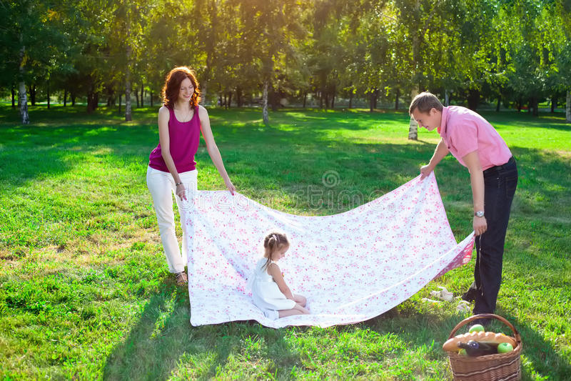 Gelukkige jonge familie die picknick hebben bij weide royalty-vrije stock afbeeldingen