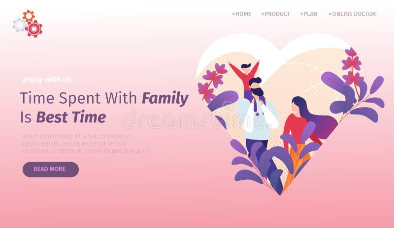 Gelukkige jonge familie die samen lopen Het levensogenblikken royalty-vrije illustratie