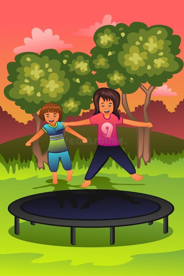Gelukkige jonge geitjes die op een trampoline spelen royalty-vrije illustratie
