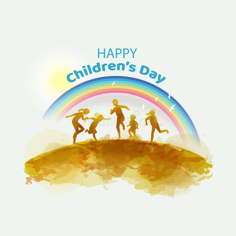 Gelukkige jonge geitjes die samen onder regenboog springen Gelukkige kinderen` s dag De stijl van de waterverf royalty-vrije illustratie