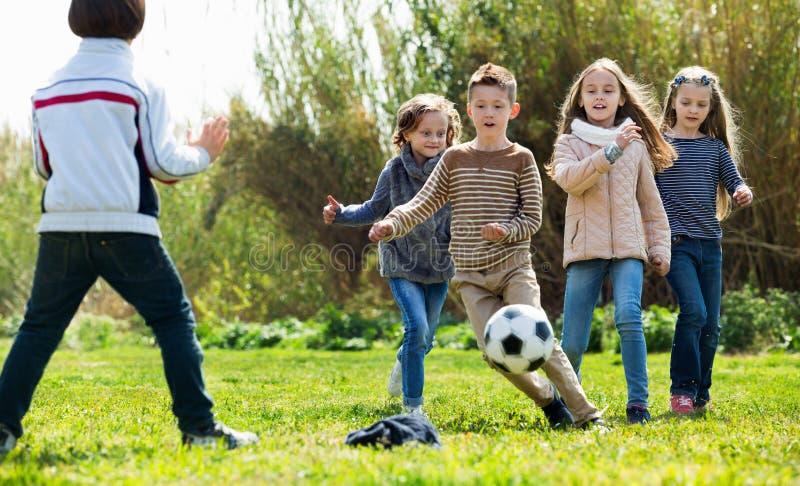 Gelukkige jonge geitjes die voetbal in openlucht spelen stock afbeeldingen