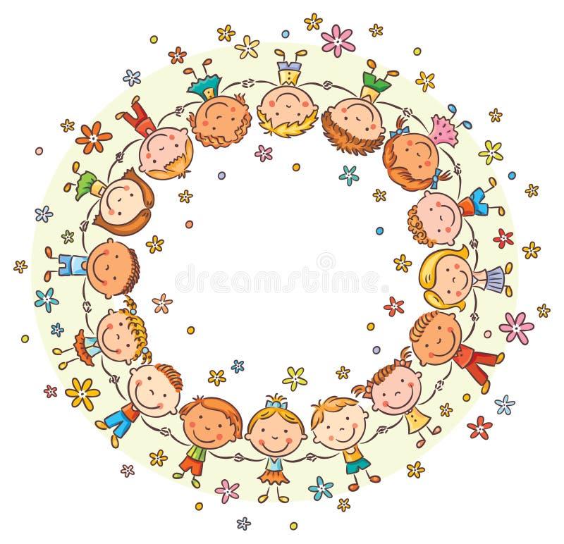 Gelukkige jonge geitjes in een cirkel stock illustratie
