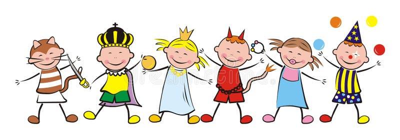 Gelukkige jonge geitjes en Carnaval vector illustratie