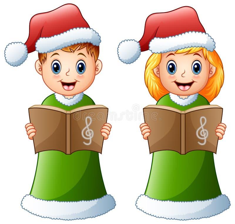Gelukkige jonge geitjes in groene santakostuum het zingen Kerstmishymnes vector illustratie