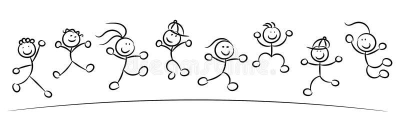 Gelukkige jonge geitjes of kinderen die geïsoleerde schets springen vector illustratie