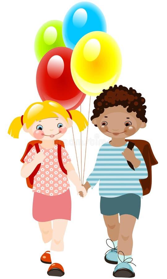 Gelukkige jonge geitjes met ballons. school kinderjaren. vector illustratie
