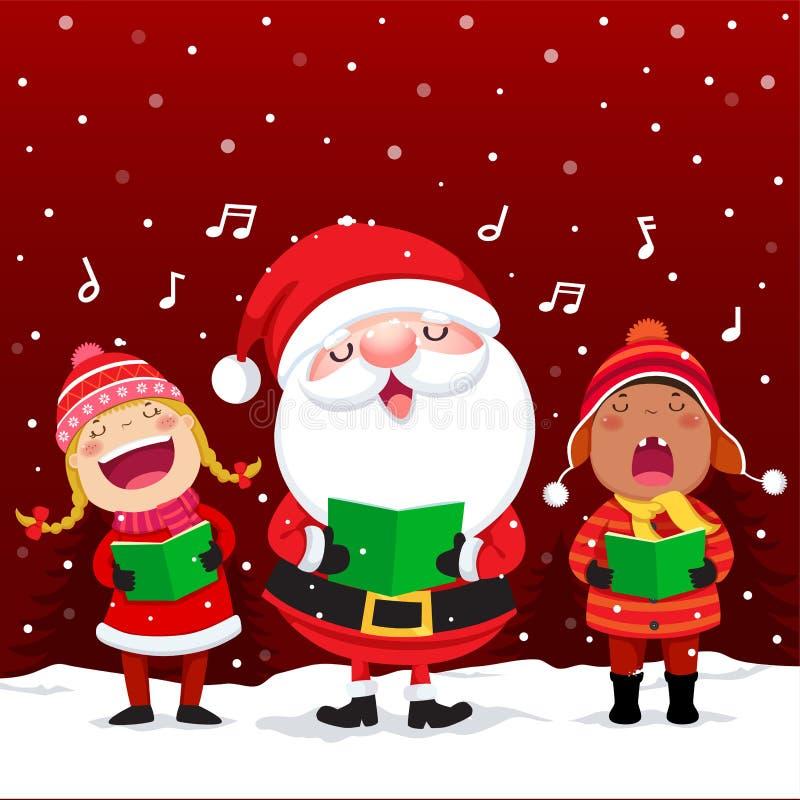 Gelukkige jonge geitjes met Santa Claus-het zingen Kerstmishymnes stock illustratie