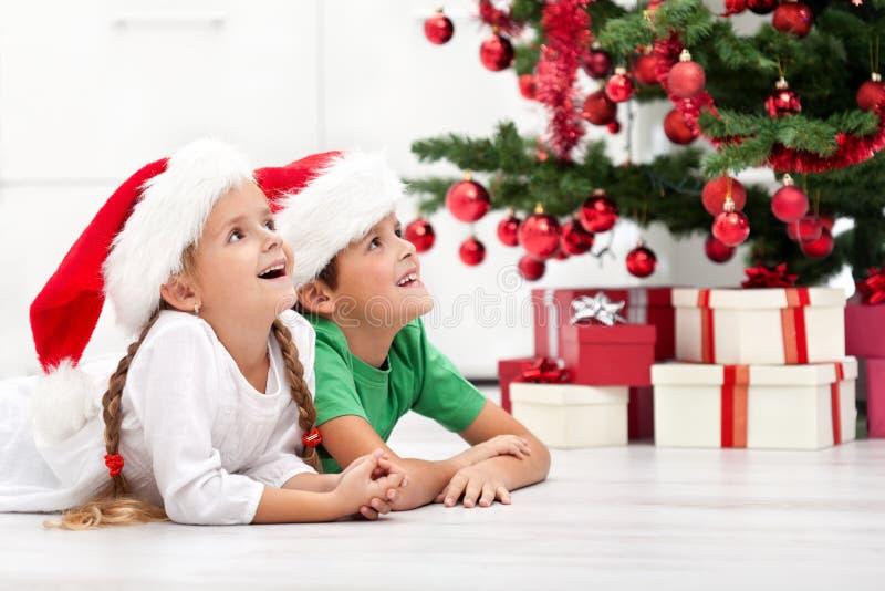 Gelukkige jonge geitjes voor Kerstmisboom stock foto
