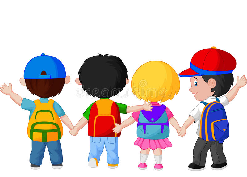 Gelukkige jonge kinderen die samen lopen royalty-vrije illustratie
