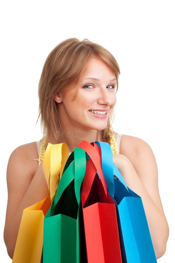 Gelukkige jonge klant na het winkelen royalty-vrije stock foto