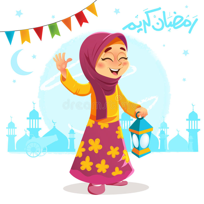 Gelukkige Jonge Meisje het Vieren Ramadan stock illustratie