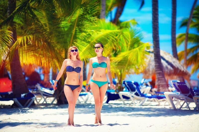 Gelukkige jonge meisjes die op tropisch strand, tijdens de zomervakantie lopen stock afbeelding