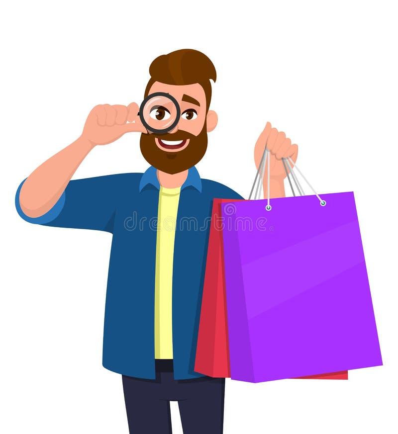 Gelukkige jonge mens die het winkelen zakken tonen Persoon die door meer magnifier of een vergrootglas ter beschikking kijken Mod vector illustratie