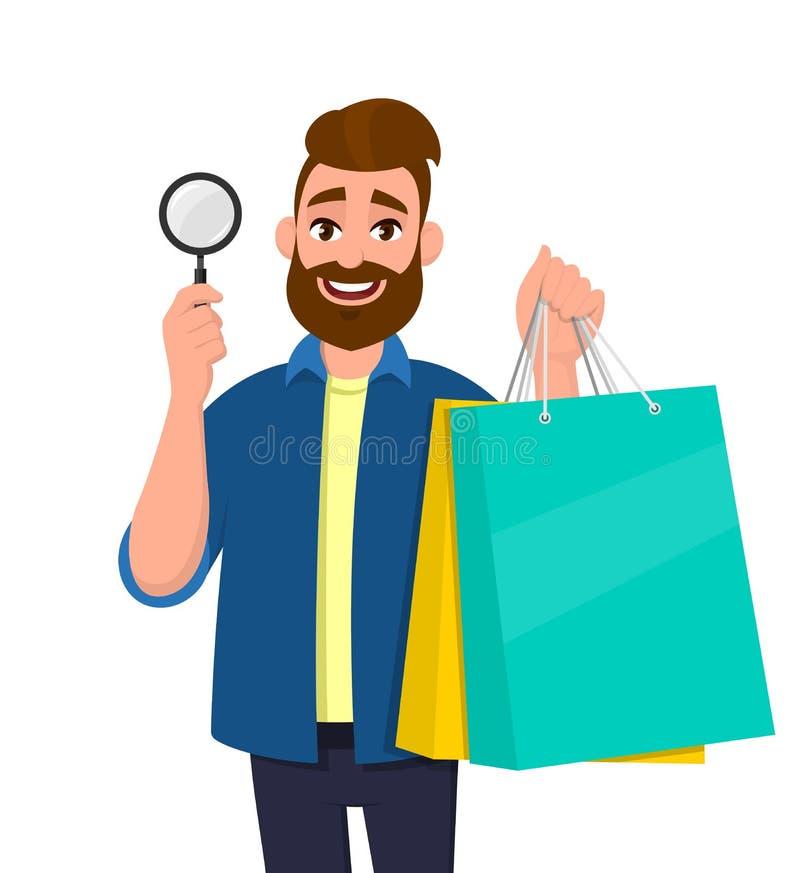 Gelukkige jonge mens die het winkelen zakken tonen Persoon meer magnifier of een vergrootglas in hand houden die Moderne digitale stock illustratie