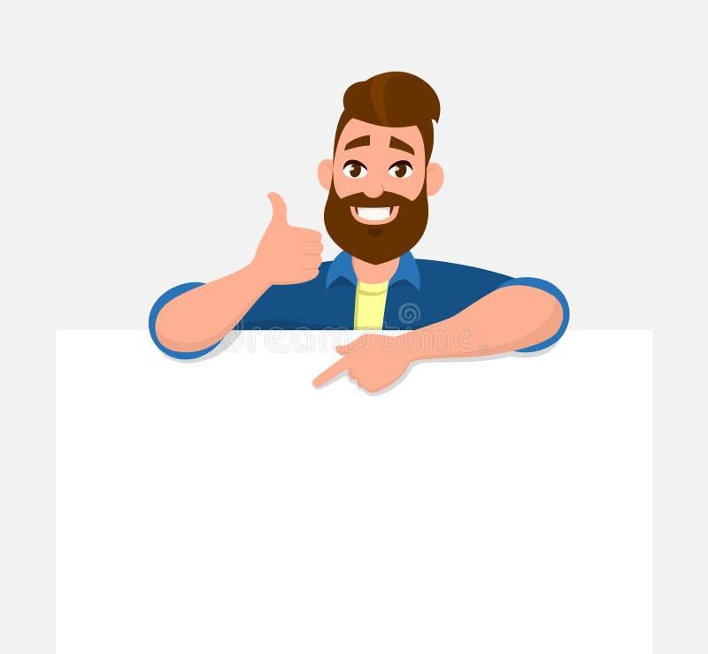 Gelukkige jonge mens die//witte lege raad/banner/affiche tonen en wijsvinger naar dat omhoog richten terwijl duimen houden tonen stock illustratie