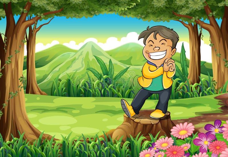 Gelukkige jonge mens die zich boven stomp bij bos bevinden vector illustratie
