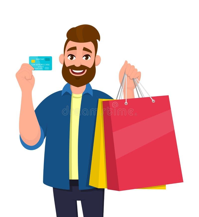 Gelukkige jonge mensenholding het winkelen zakken Mannelijk karakter die een krediet, debet, ATM, betaalpas ter beschikking tonen vector illustratie