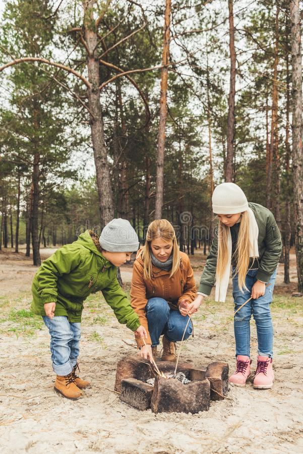 gelukkige jonge moeder en jonge geitjes die vuur maken stock foto