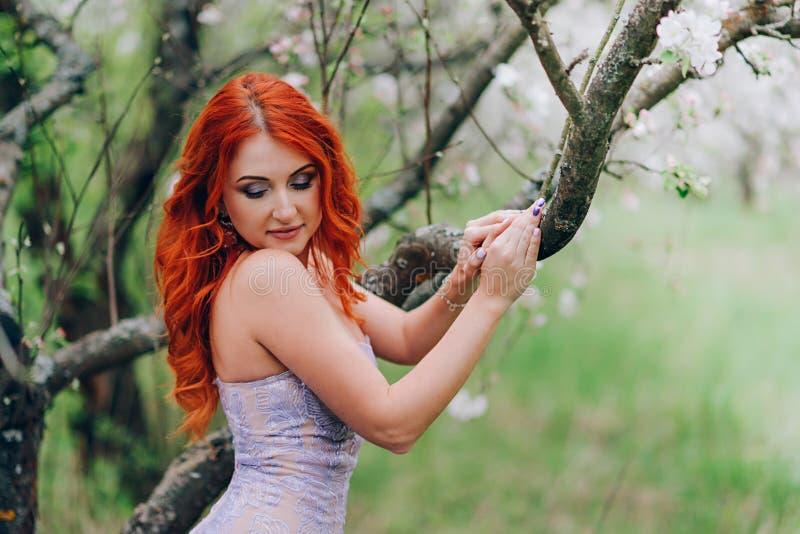 Gelukkige jonge roodharige vrouwentribunes in tot bloei komende appelboomgaard royalty-vrije stock afbeelding