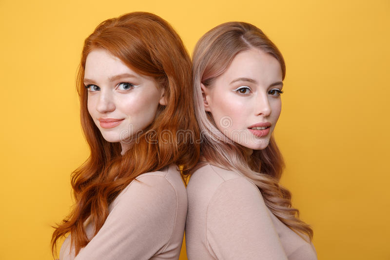 Gelukkige jonge twee dames die zich over gele achtergrond bevinden stock foto's