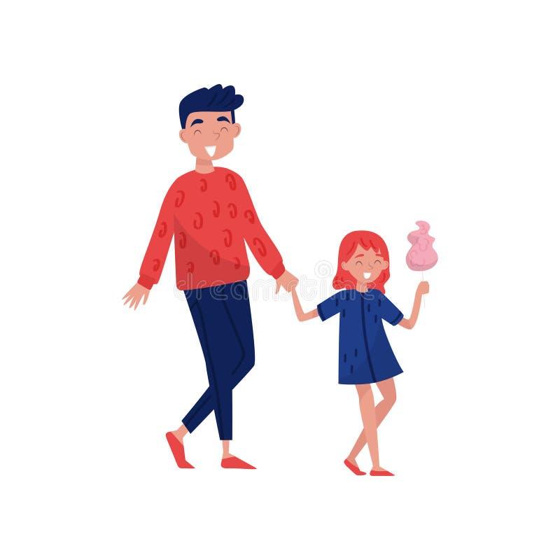 Gelukkige jonge vader die met zijn dochter lopen De leuke gesponnen suiker van de meisjeholding ter beschikking Openlucht activit vector illustratie