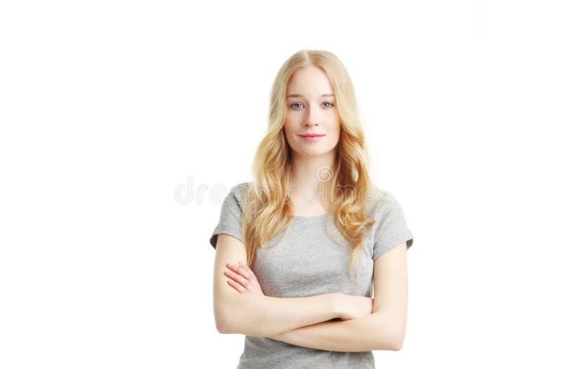 Gelukkige jonge vrouw stock afbeelding