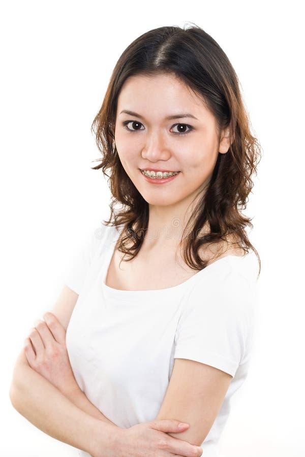 Gelukkige Jonge vrouw met steunen royalty-vrije stock foto's