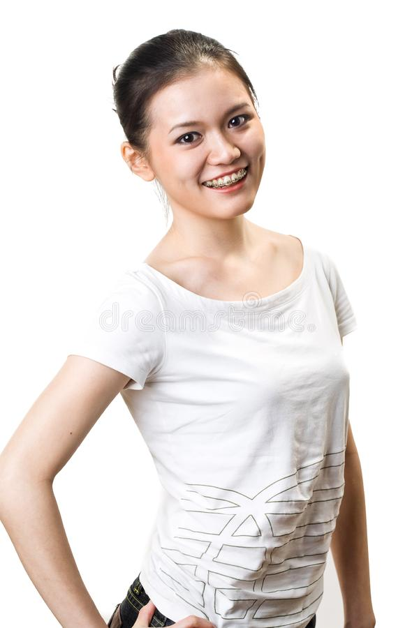 Gelukkige Jonge Vrouw Met Steunen Stock Foto