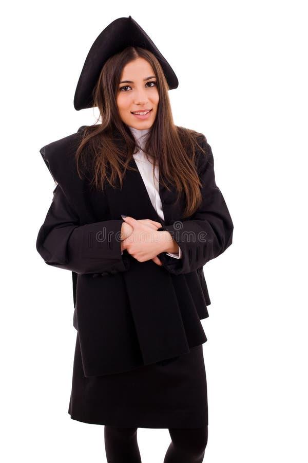 Gelukkige jonge vrouw op graduatiedag stock afbeelding
