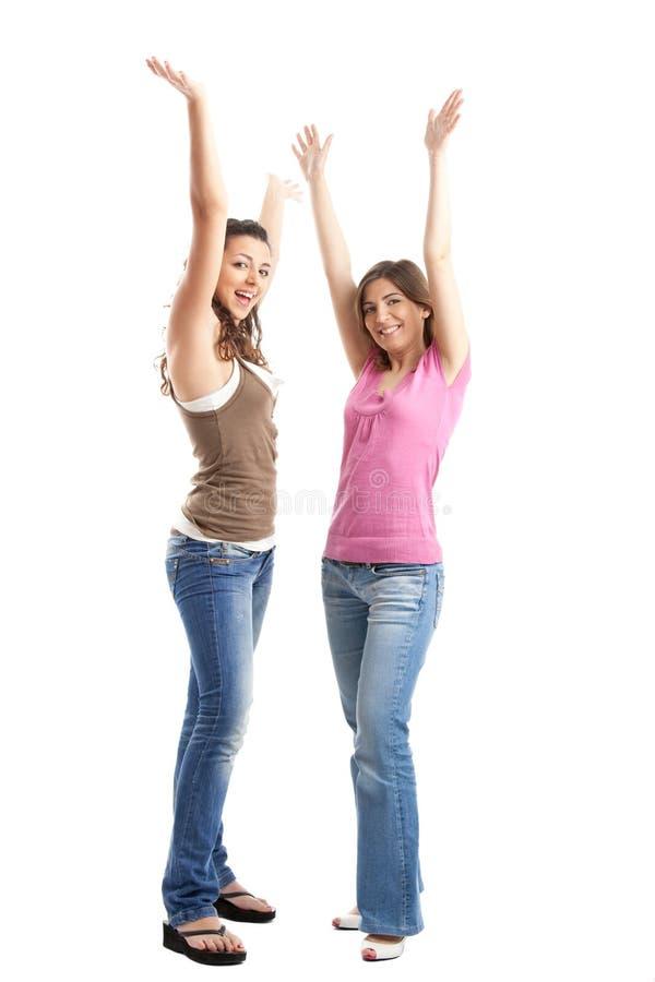 Gelukkige jonge vrouwen stock afbeeldingen