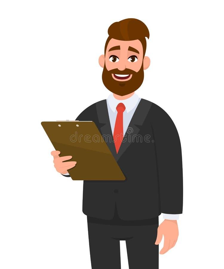 Gelukkige jonge zakenman in het klembord van de kostuumholding en stellende hand op heup Persoon die het dossierstootkussen in ha royalty-vrije illustratie