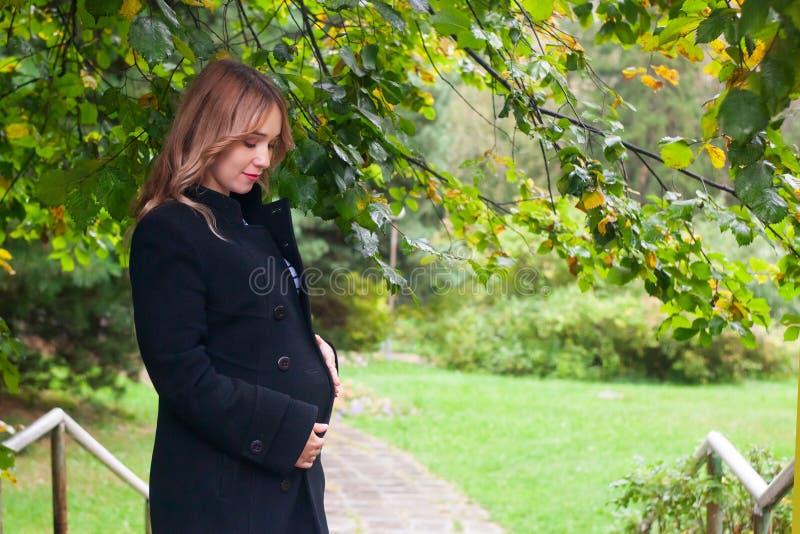 Gelukkige jongelui die zwangere vrouw in de herfstpark glimlachen stock foto's