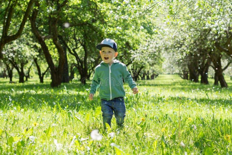 Gelukkige Jongen in een Bloeiende Tuin stock afbeeldingen
