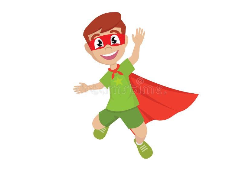 Gelukkige Jongen in het super held springen stock fotografie